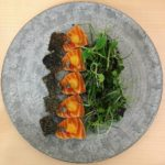 Marinated salmon with seasonal cress and crispy salmon skin Thehellip